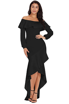 Black Lantern Sleeve Ruffle Hem Dress