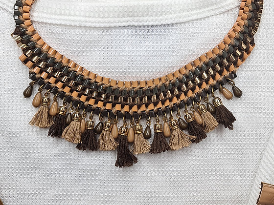 Brown Fringed Necklace