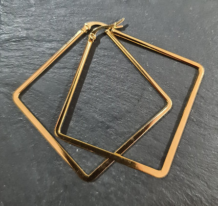 Minimalist Gold Square Hoop Earrings
