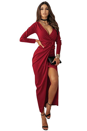 Ruby Red Twist Front Dress