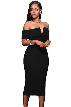 Off The Shoulder Midi Dress-Black
