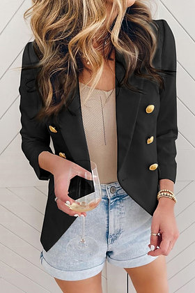 Double Breasted Gold Button Blazer  - Black