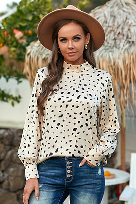 High Neck Lantern Sleeve Spotted Blouse-Beige