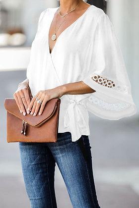 White Crochet Trim Wrap Top