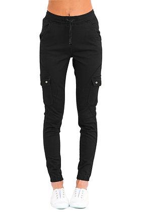 Black Draw String Cargo Jeans