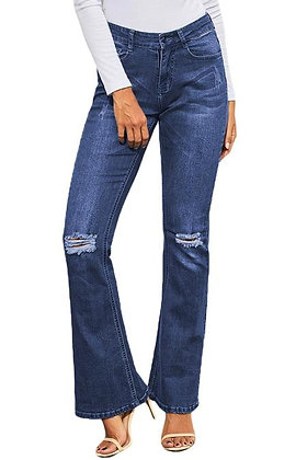 Ripped Knee Blue Bell Bottom Jeans