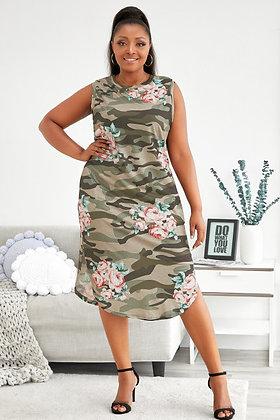 Camo Floral Sleeveless Dress