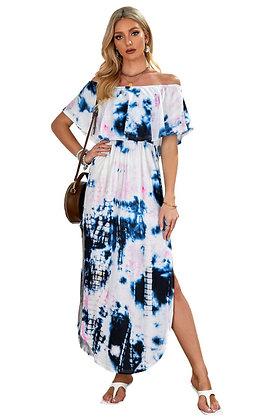 Off The Shoulder Tie-dye Maxi Dress
