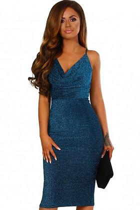 Blue Lurex Cowl Neck Bodycon Midi Dress