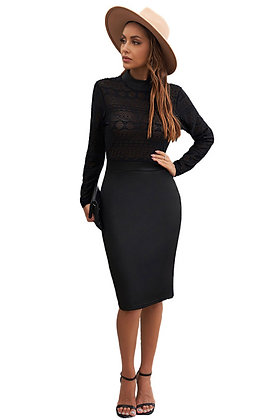 High Neck Fitted Lace Midi