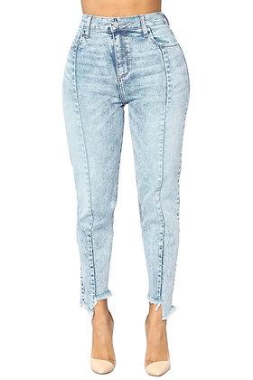 Acid Wash Raw Uneven Hem Jeans