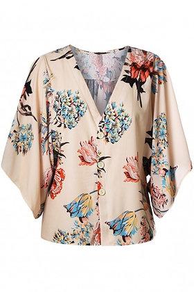 Apricot V Neck Floral Kimono Top