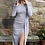 Thumbnail: Lurex Off The Shoulder Draped Front Dress- Silver