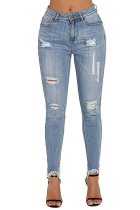 Uneven Frayed Hem Distressed Jeans