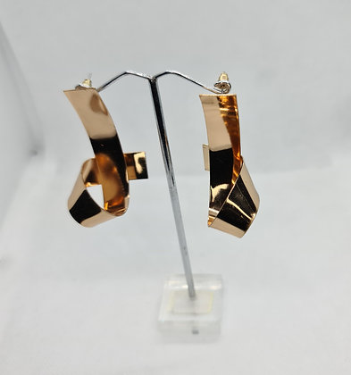 Gold Folded Ribbon Statement Earrings