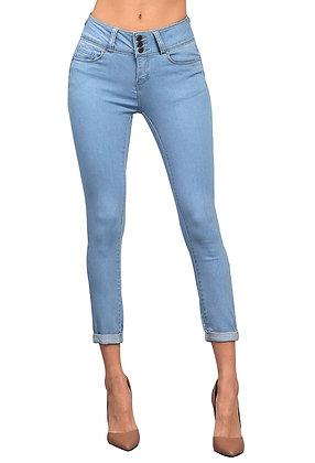 3 Button Butt Lifter Skinny Jeans -Light Blue
