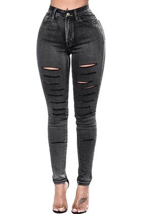 Black Slashed Jeans
