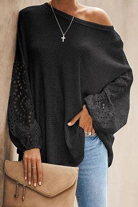 Black Lace Balloon Sleeve Top