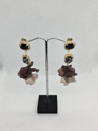Gunmetal Grey Crystal Drop Earrings