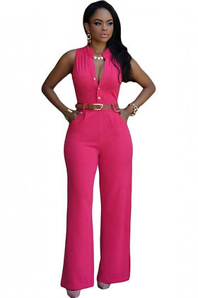 Belted Wide Leg Jumpsuit-Hot Pink