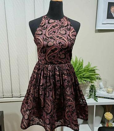 Paisley flocked Chiffon  Dress