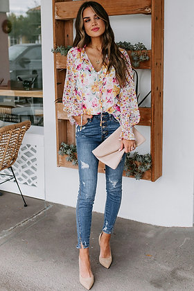 Floral Chiffon Bell Sleeve Top