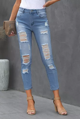 Light Blue Distressed Ripped High Waisted Jeans