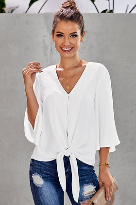 White Tie Button Front Top