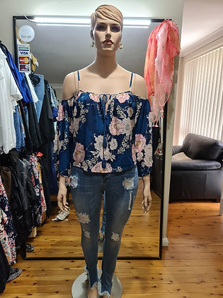 Blue Cold Shoulder Floral Top