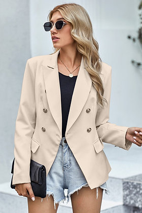 Double Breasted Gold Button Blazer  - Pink