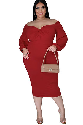 Ruby Red Knot front Midi Dress