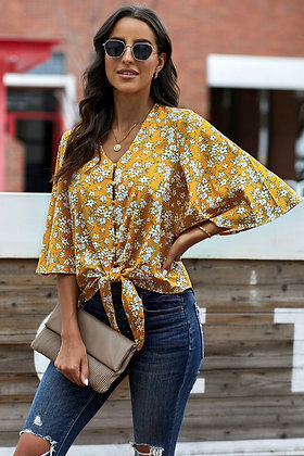 Yellow Floral Tie Button Front Top