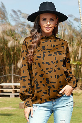 High Neck Lantern Sleeve Spotted Blouse-Brown