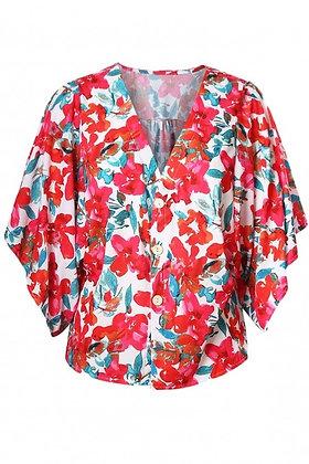 Rose V Neck Floral Kimono Top