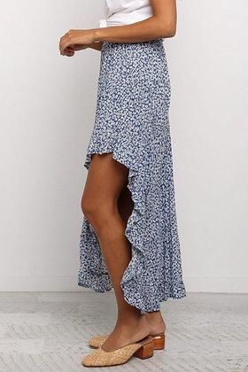 Floral High Low Skirt -Blue