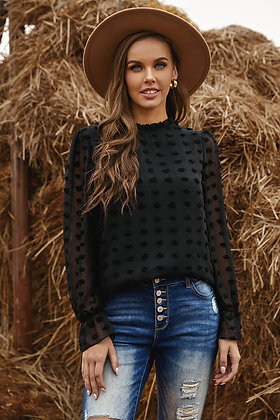 High Neck Lantern Sleeve Burnout Spotted Blouse-Black