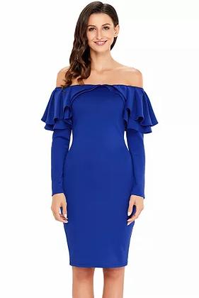 Royal Blue Frilled  Off The shoulder Dress
