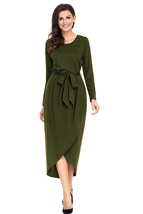 Olive Green  Wrap Sash Tie Jersey Dress