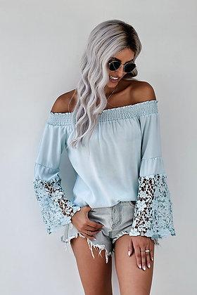 Off Shoulder Crochet Hem Top-Blue