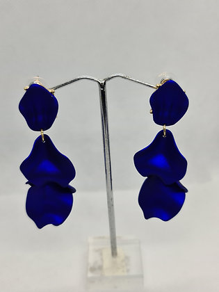 Royal Blue Long Resin Flower Earrings