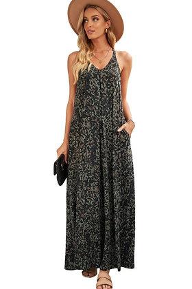 Camouflage Print V-Neck Sleeveless Maxi Dress