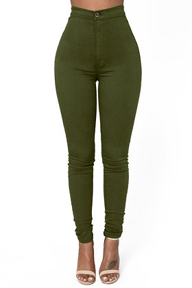 High Waist Skinny Jeans with Round Back Pockets-Khaki