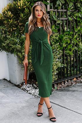 Emerald Green Summer Ribbed Midi Dress