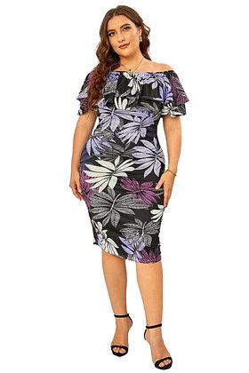 Purple Palms Off The Shoulder Dress