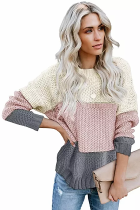 Pink & Grey Color Block Sweater