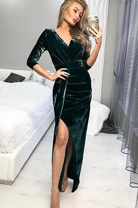 Green Deep V Neck Ruched Side Slit Cocktail Velvet Dress