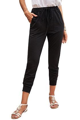 Black Drawstring Casual Pants