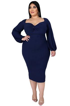 Midnight Blue Knot front Midi Dress