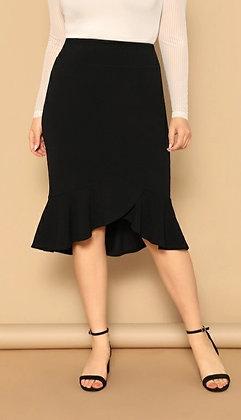 Black Ruffled Hem Midi Skirt