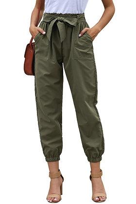 Khaki Green Belted Dress Pants